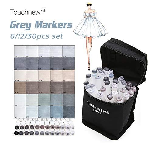 Touchnew - Rotulador gráfico para dibujo (6/12/30 tonos gris), color gris, color 30 Grey Colours