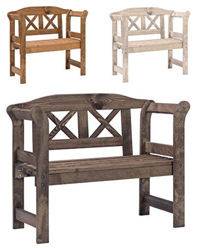 Bomi® Kinder Gartenbank Holz Nala | Holzgartenbank 2-Sitzer-Bank Friesenbank, Garten Sitzbank in Braun | Garten Picknick Bank für Kleinkinder
