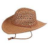 WERTAZ - Sombreros de vaquero de paja para hombre y mujer - Sombrero de playa de malla ancha con cordón cortavientos - Sombreros de sol de paja de vaquero de verano para exterior Cachi free size