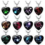 TOYMYTOY 12 Piezas Collar Colgante de Constelación Corazón Colgante de Piedras Preciosas Joyería Horóscopo Accesorios Personalizados