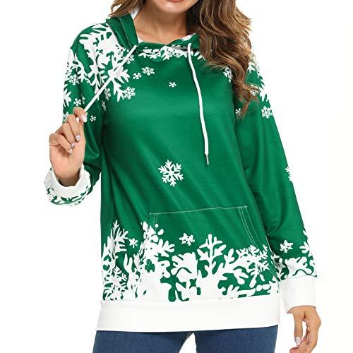 LOTUCY Christmas Women Sweatshirt Casual Hoodie Jumper Graphics Loose Snowflake Print Pocket Pullover Long Sleeve Sweater Xmas Holiday Funny Tops (Green, L)