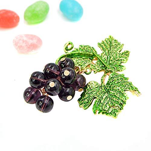 WANGKEAI Color Púrpura Broches De Uvas De Cristal para Mujer Moda Verano Planta Broche Pin Esmalte Joyas