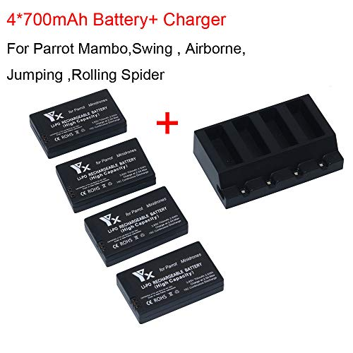 4X 700mah Battery for Parrot Mambo Mini Drones Jumping Rolling Spider USB Charger by Sttech1
