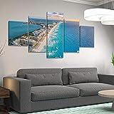 GMSM 5 Piezas Impresión Lona Pintura Lona Vista aérea de Cancun Beach Lienzo Arte de la Pared pósters e Impresiones Arte de la Pared Decoración de la habitación de los niños Cuadro