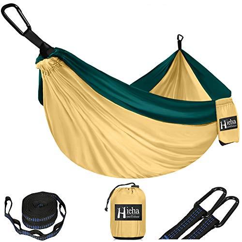 Hieha Hängematte Ultraleichte Camping Hammock mit 2 x D-förmige Karabiner und 2 x Einstellbar Baumgurte (5 + 1 Schleifen),210T Nylon Schnelltrocknendes Fallschirmgewebe 270 x 140 cm,300kg Tragkraft