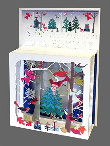 Navidad Pop Up 3niveles 3d Laser tarjeta paraíso en el bosque 17x 13cm