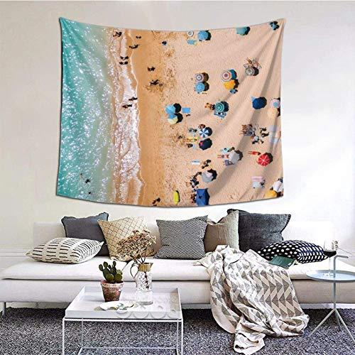 Wandbehang, Menschen auf Algarve Strand in Portugal, Drohnen-Fotografie, Luftfotografie, Ozean-Tapisserie 152,4 x 127,7 cm, Boho-Wandkunst, zum Aufhängen für Wohnheim, Wohnzimmer, dekorativ