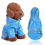 Chubasquero impermeable para perros con rayas reflectantes, chaqueta de lluvia con capucha y agujero en el cuello, resistente al viento para cachorros, para perros pequeños y medianos.