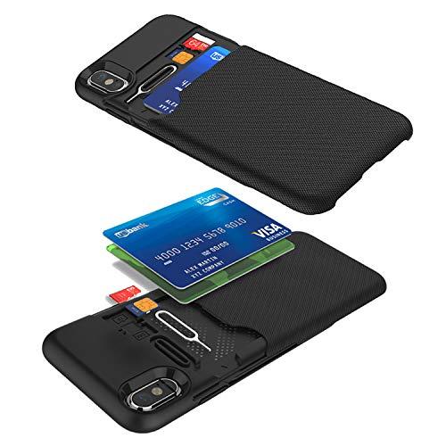 Funda iPhone X XS - KHOMO Carcasa Negra Anti Choque Compatible con iPhone X y XS con Tarjetero Oculto - Negro