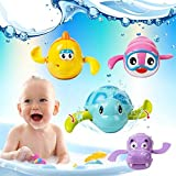 RVM Toys Clockwork Bath Toy Wind Up Bathing Swimming Tub Pool Sea Fish Animal Windup Toys for Baby/Kids/Toddler/Child/Children (Turtle, Fish, Duck, Dolphin, Penguin, Alligator) (Qty 1)