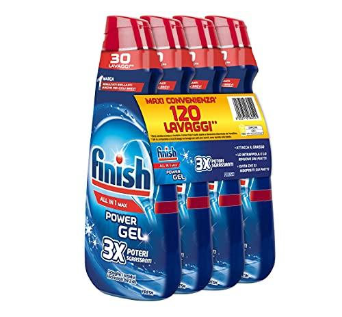 Finish Powergel Gel Detersivo per Lavastoviglie Liquido, Multiazione, Poteri Sgrassanti, Fresh, 120 Lavaggi, 4 Confezioni da 30 Lavaggi