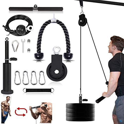 Seilzug Fitness LAT Lift Flaschenzugsystem Professionelle Seilzugmaschine Muskelkraft Fitnessgeräte für Bizeps Curl, Unterarm, Trizeps - Home Gym Ausrüstung (Max Belastung 330 lbs)
