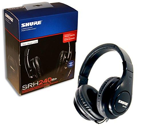 SHURE SRH240M+ Kopfhörer (basiert auf SRH240) als Headset mit Mikrofon und Fernbedienung - Musik hören und telefonieren - für iPhone 3GS/4, iPad, iPod Touch und iPods