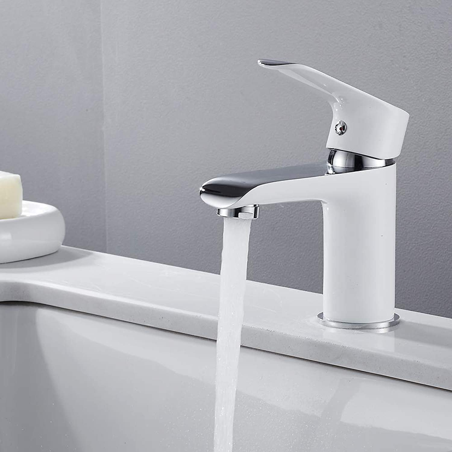 Faucetbasin Sink Tap Mixer Modern Luxury Bathroom Ceramic Faucet Low Pressure Single Handle Lever Faucet Hot Cold Taps (White)