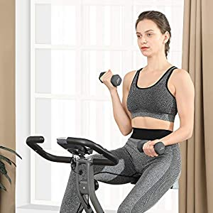 SONGMICS Exercise Bike, Foldable Indoor Cycling Bike for Fitness Workout, Phone Holder, 220 lb Max. Weight, Gray and Silver USEB013G01