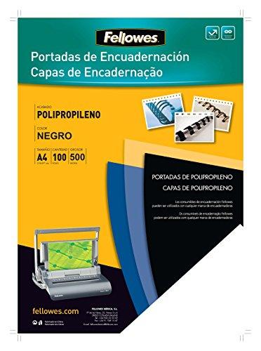 Fellowes 54772 - Portadas para encuadernar de polipropileno, A4, negro 🔥