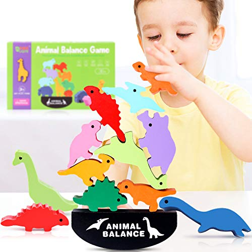 Toys for 3 4 5 Year Old Boys, Stacking Dinosaur Toys for Kids Ages 3-5, Wooden Blocks for Toddlers Learning Fine Motor Skills, Best Christmas and Birthday Gifts for Children