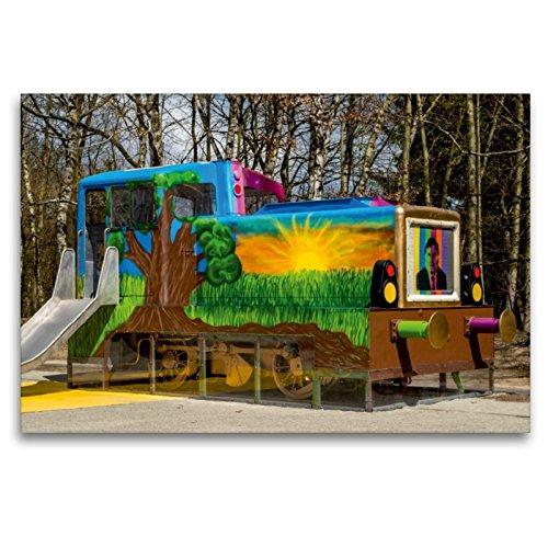 CALVENDO Premium Textil-Leinwand 120 x 80 cm Quer-Format Bunter Eisenbahnspielplatz, Leinwanddruck von Lisa Birkigt