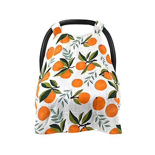 Nursing Cover Carseat Canopy - Baby Breastfeeding Cover,Infant Stroller Cover, Car Seat Covers for Babies, Multi Use Nursing Scarf, Breathable Cotton Muslin Canopy,Boys and Girls Shower Gifts-Orange