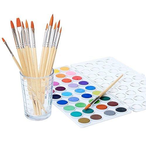 Conjunto de tintas de aquarela para crianças e adultos – Conjunto de aquarela vibrante com 36 cores e 12 pincéis de tinta – Materiais de arte para estudantes e artistas profissionais