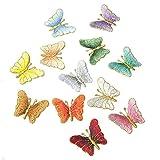 Lameida - 12 Toppe ricamate in tessuto a forma di farfalla, applique termoadesiva o da cucire su vestiti, giacche, zaini, jeans, cappelli (colori assortiti)