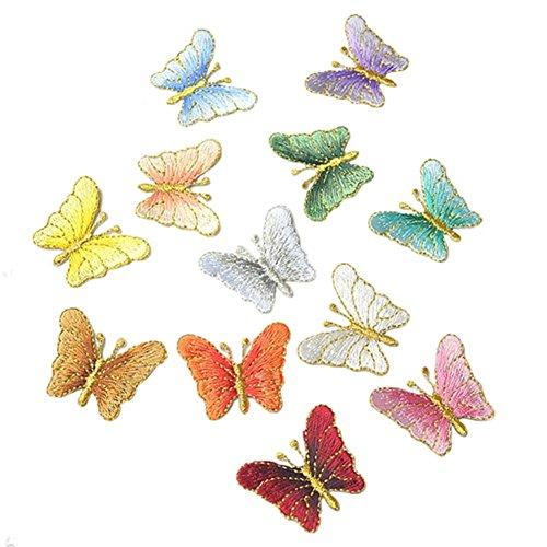 CAOLATOR. 12Stk Aufnäher Stoff Aufkleber Schmetterling Patch Sticker Klein Aufbügeln DIY Kleidung Applikation Patches Flicken mit Kleber für T-Shirt Jeans Taschen Schuhe Hüte