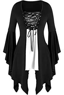 Holzkary Ladies Novelty Halloween Costume Gothic Criss Cross Shirt Fashion Butterfly Sleeve Tops Blouse