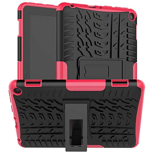 Lantier Hybrid Armor Shockproof Impact Protection Tough Hard Rugged Heavy Duty Combo Dual Layer Protective Case with Kickstand for Amazon 8' Fire HD 8 2020 Rose