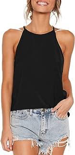 ZJCT Womens Shirts Halter Neck Racerback Tank Top Summer Casual Basic Tee Shirts