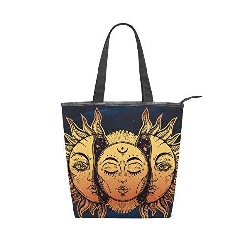 Jeansame Canvas-Handtasche für Damen, Shopper, Tragegriff, Schultertaschen mit Reißverschluss, Mandala, Mond, Sonne, Vintage