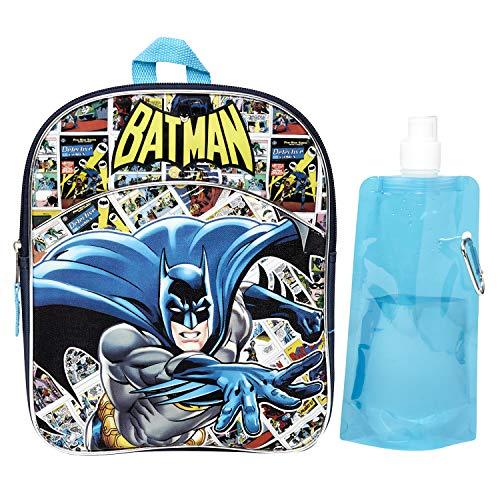DC Batman Backpack Combo Set - DC Comics Batman Boys 3 Piece Mini Backpack Set - Backpack, Water Bottle and Carabina (Batman)