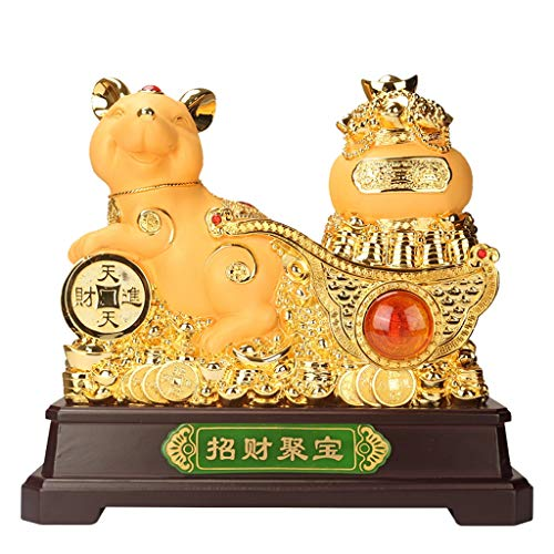 NYKK Buddha Ornament Feng Shui Statue Mouse/Rat Figurines 2020 Chinese Zodiac Rat Year Keepsake Mascot Lucky Rat Collectible For Luck & Wealth Perfect Feng Shui ornaments