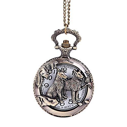 Taschenuhr antike Taschenuhr mit Stahlkette Bronze Carving Zodiac Tier Hund Vintage Style Loyalität Hund Taschenuhr Taschenuhr groß Als Geschenk zum Geburtstag des Geburtstags
