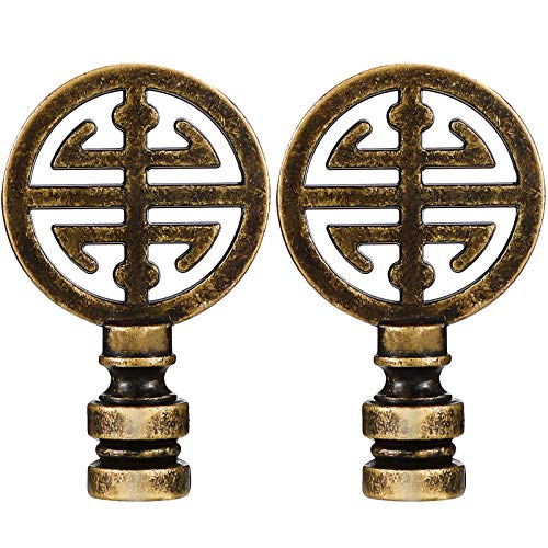 2 Pieces Oriental Happiness Symbol Lamp Finial Asian Lamp Finial Cap Knob Lamp Knob Top Asian Final for Lamp Shade Lamp Decoration (Antique Brass)