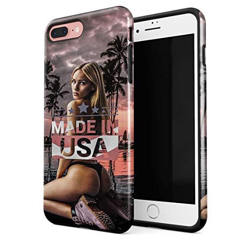 Funda Para iPhone 7 Plus & 8 Plus Made In USA American Sexy Ass Naughty Blonde Model Girl By Poolside Resistente a los Golpes Carcasa Dura de PC de 2 Capas + Funda Protectora de Diseño Híbrido de TPU