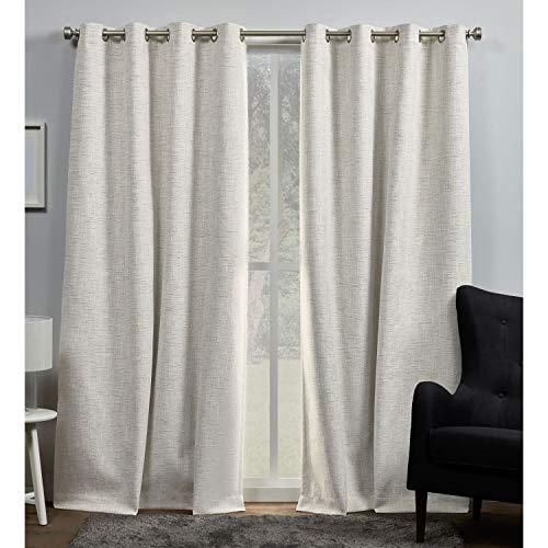 Exclusive Home Curtains EH8460-01-2-84G Burke Blackout Grommet Top Curtain Panel Pair, 52x84, Latte