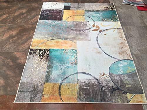 Liveinu Tappeto A Pelo Corto per Salotto Soggiorno Modern Design Tappeti per Salotto Arredamento Antiscivolo Lavabili Ornamenti 80x120cm