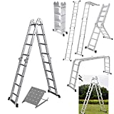Aluminium Ladder Fold up to 4.7m Multi-Purpose Ladder 15.5FT Foldable Step Stair Scaffold Combination Step Ladder Building Ladder with New Safety Tool Platform for Works Outdoor Indoor Works