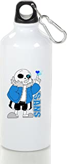 ZZYY Portable Sans Undertale Role-Playing Video Game Character Aluminum Travel Flask White with Carabiner Hook