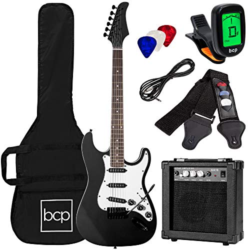 Best Choice Products 39in Full Size Beginner Electric Guitar Starter Kit w/Case, Strap, 10W Amp, Strings, Pick, Tremolo Bar - Jet Black Michigan