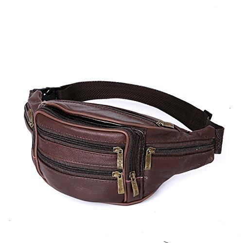 ZYT Cuir porte-monnaie haute noir extérieure mobile Pack poitrine polyvalent pour hommes vintage Pack . brown
