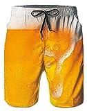 Birra Tronchi per la Spiaggia da Uomo Bermuda Costume da Bagno Ragazzo Modello Interessante 3D Stampato Pantaloncini da Bagno con Pocket