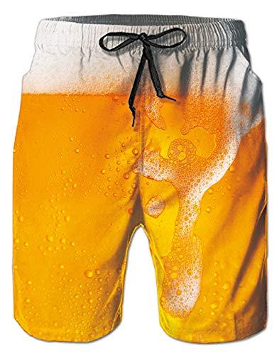 Spreadhoodie Herren Bier Badeshorts Lusting Männer Bermuda Funky 3D Beer Badehose Gelb Schwimmhose Kurze Hose Shorts L