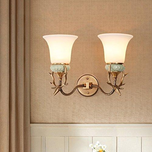 Xw LRW wandlamp voor hal in Amerikaanse slaapkamer, nachtlamp in de slaapkamer (grootte: 2 lampen, 40 x 29 cm)
