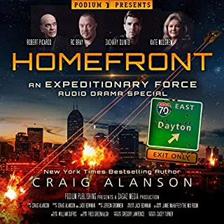 Homefront     An Expeditionary Force Audio Drama Special              By:                                                                                                                                 Craig Alanson                               Narrated by:                                                                                                                                 Zachary Quinto,                                                                                        R.C. Bray,                                                                                        Kate Mulgrew,                   and others                 Length: 5 hrs and 56 mins     105 ratings     Overall 4.1