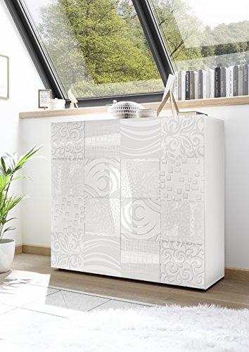 Arredocasagmb.it Mobile credenza Contenitore 2 Ante Moderno Bianco Lucido Anta con Serigrafia Soggiorno Madia Buffet con sportelli Design Mira 04