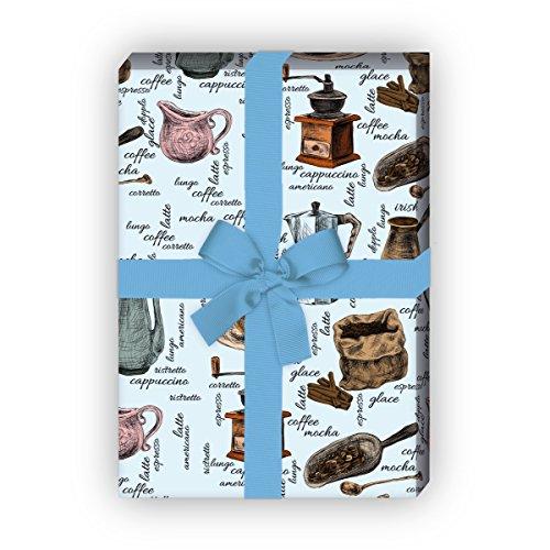 Kartenkaufrausch Getekende koffiehuis geschenkpapier set 4 vellen, decoratief papier met koffiemolen en koffievarianten, lichtblauw, als edele geschenkverpakking, patroonpapier om te knutselen 32 x 48 cm
