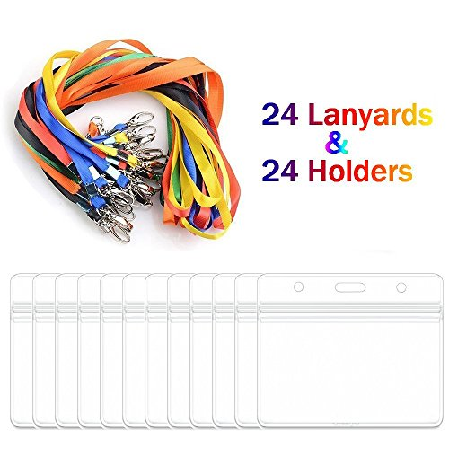iLoveCos Kunststoff Ausweishülle Namensschild Band Kartenhalter mit Schlüsselband Lanyard für Ausweishülle Business, Ausstellung und Büro, Tragbare vertikal Badge (24er Set) (horizontal)