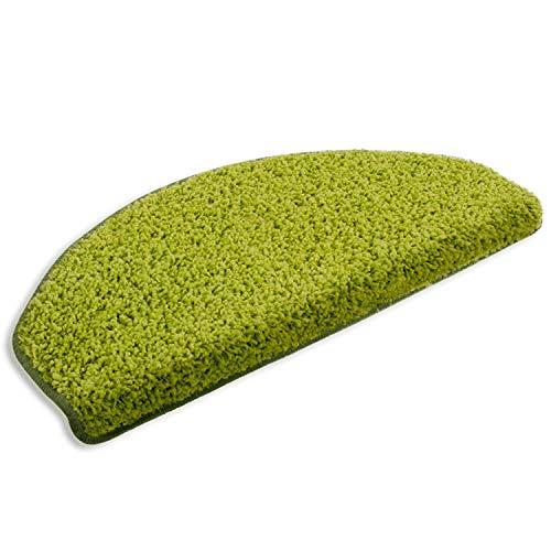 Floordirekt Stufenmatten Treppenmatten Shaggy - Venus Halbrund 10 Aktuelle Farben SparSet 15 Stck. (grün)