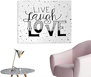 Tudouhoho Live Laugh Love Poster Paper Quote Hand Drawn Style Typographical Artistic Design Positive Hipster Wall Paper Black and White W48 xL32
